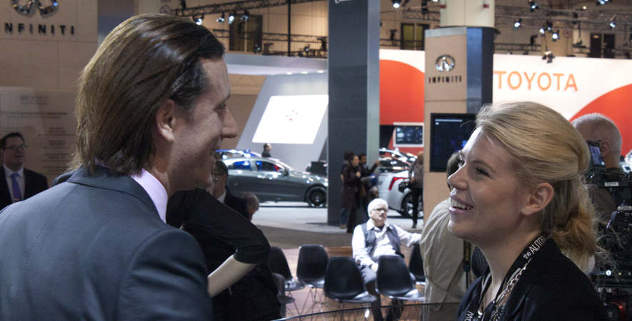 Infiniti Designer Alfonso Albaisa and Alexandra Straub at the 2015 Canadian International Auto Show