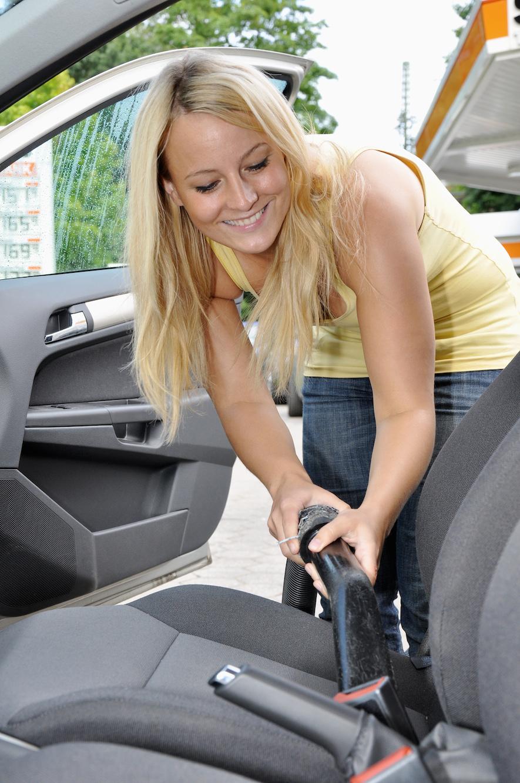 a women vacuuming her her