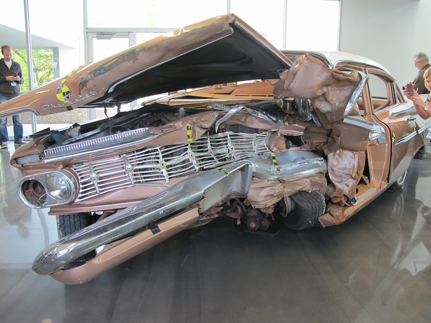 1959 crashed Chevrolet front view at IIHS