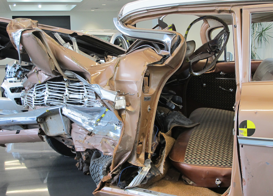 crashed 1959 chevrolet side view at IIHS