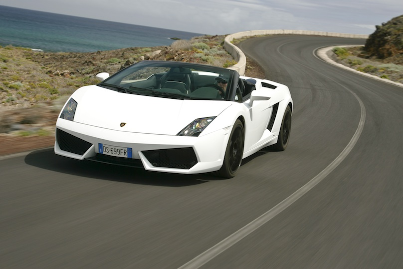 White Lamborghini Gallardo on the road
