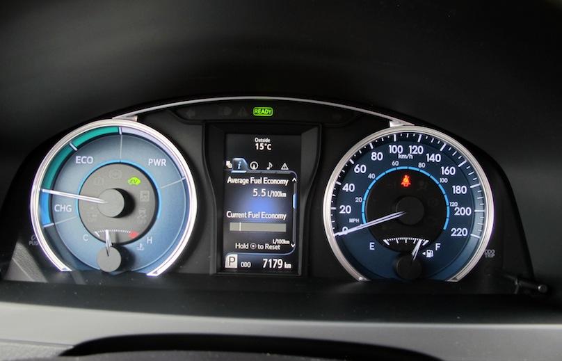 2015 Toyota Camry Hybrid gauges