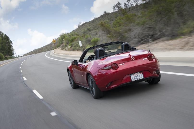 Mazda MX-5 rear on the road