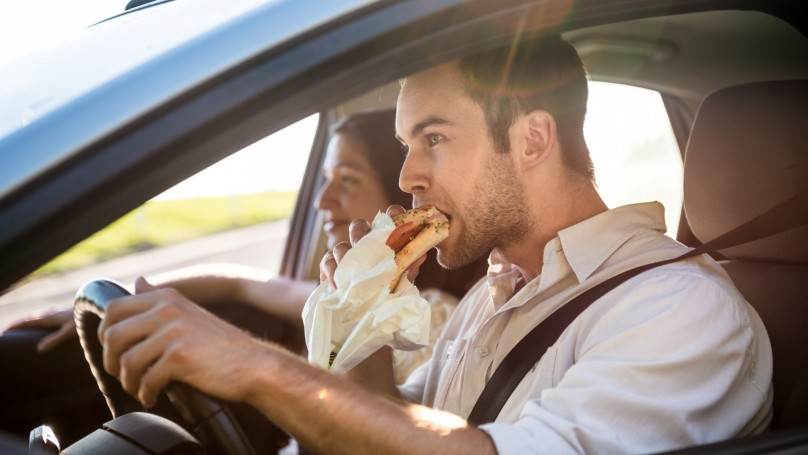 Eating in car