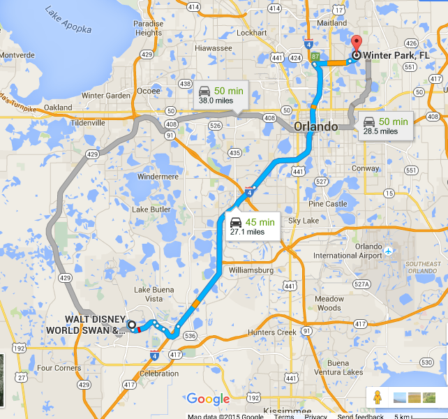 Orlando to Winter Park Map